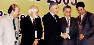 Receiving Best Businessman (Gold Medal) year 2005 from The Prime Minister of Pakistan Mr. Shaukat Aziz