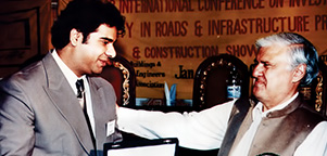 Receiving Best Performer of Construction Industry Exhibition Award year 2003 from The Federal Minister Mr. Aftab Ahmed Sher Pao